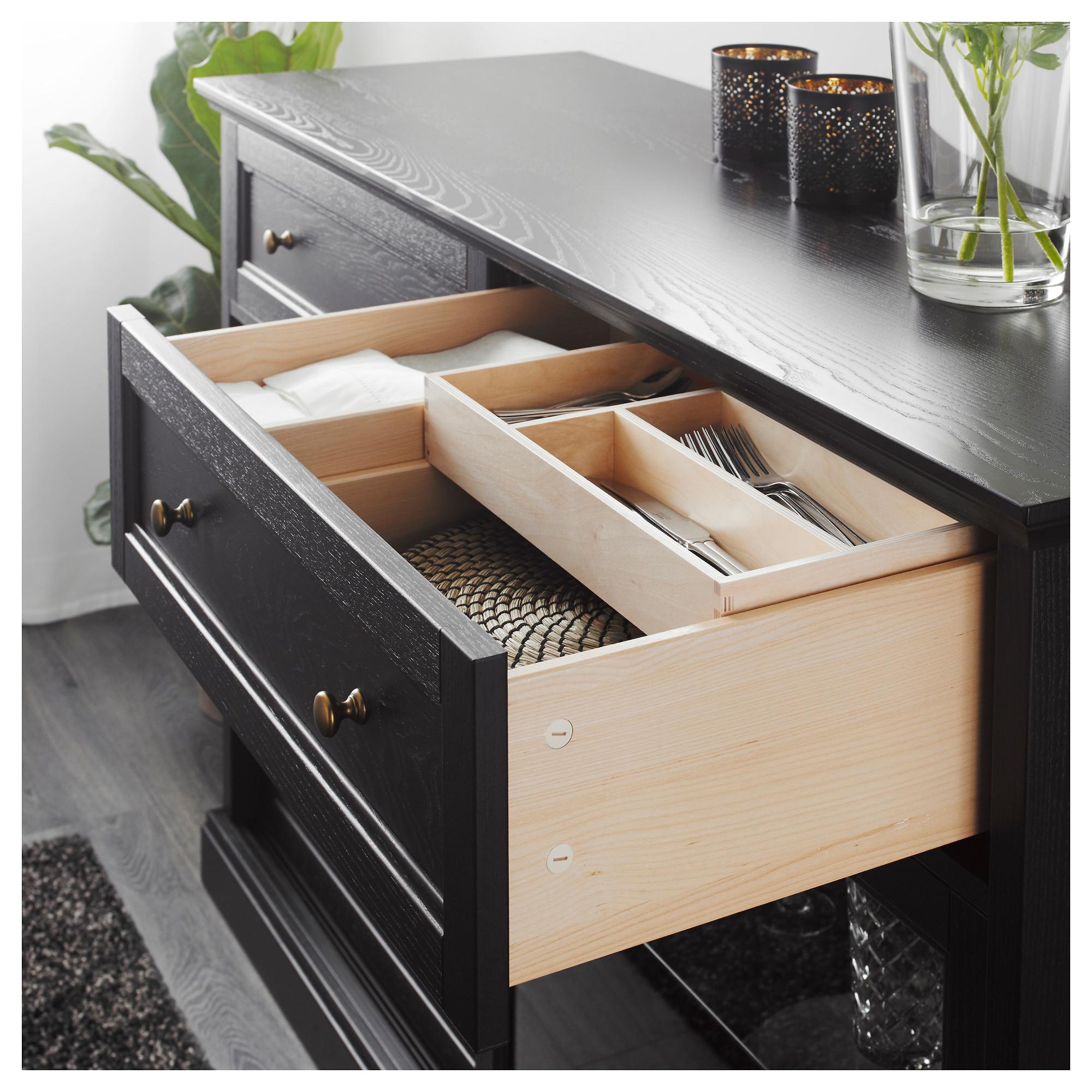 wholesale dealer 8b26c a72c1 MALSJÖ - sideboard basic unit, black stained | IKEA Hong Kong