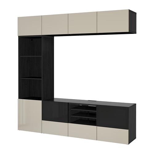 BESTÅ - TV storage combination/glass doors, black-brown/Selsviken high-gloss/beige clear glass | IKEA Hong Kong and Macau - PE703326_S4