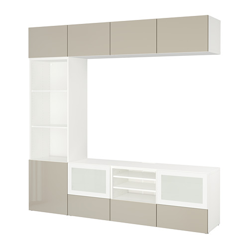BESTÅ - TV storage combination/glass doors, white/Selsviken high-gloss/beige frosted glass | IKEA Hong Kong and Macau - PE703334_S4