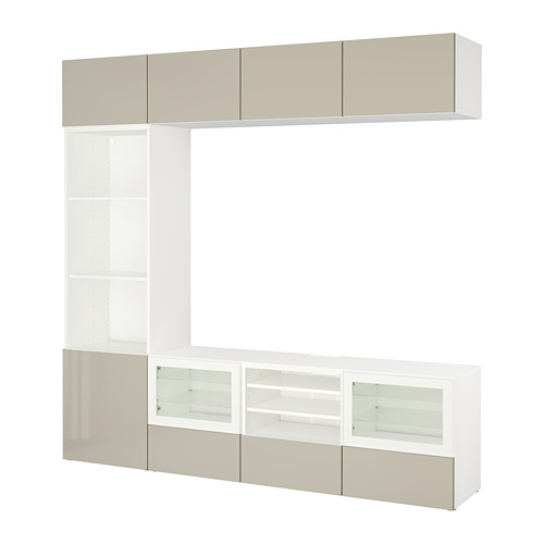BESTÅ - TV storage combination/glass doors, white/Selsviken high-gloss/beige clear glass | IKEA Hong Kong and Macau - PE703330_S4