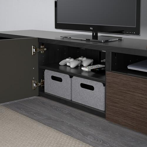 BESTÅ - TV bench, black-brown/Selsviken high-gloss/brown | IKEA Hong Kong and Macau - PE591106_S4