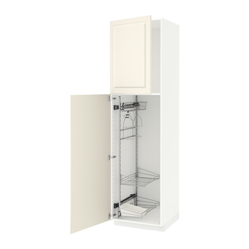 METOD - high cabinet with cleaning interior, white/Bodbyn off-white | IKEA Hong Kong and Macau - PE530727_S4
