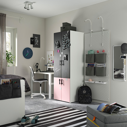 PLATSA/SMÅSTAD - wardrobe, pale pink blackboard surface/with clothing rod with 1 shelf | IKEA Hong Kong and Macau - PE797643_S4