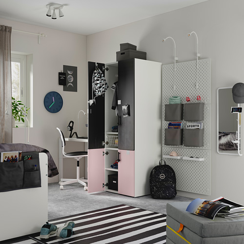 PLATSA/SMÅSTAD - wardrobe, pale pink blackboard surface/with clothing rod with 1 shelf | IKEA Hong Kong and Macau - PE797642_S4