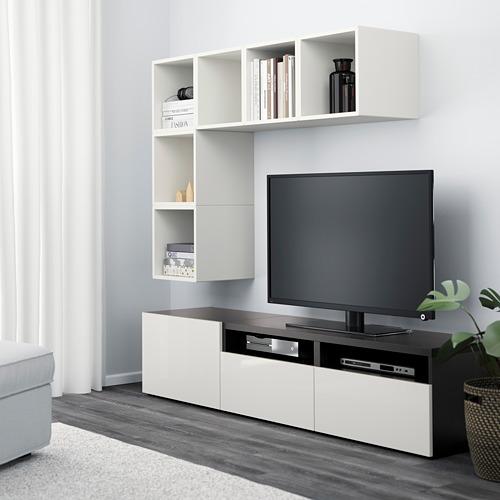 EKET/BESTÅ - 電視貯物組合, white/black-brown/high-gloss/white | IKEA 香港及澳門 - PE617933_S4