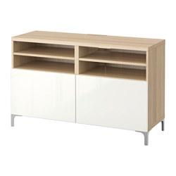 BESTÅ - TV bench with doors, white stained oak effect/Selsviken/Nannarp high-gloss/white   IKEA Hong Kong and Macau - PE536047_S3