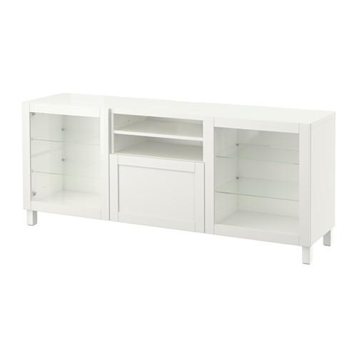 BESTÅ - TV bench with drawers, Hanviken/Stubbarp white clear glass | IKEA Hong Kong and Macau - PE535959_S4