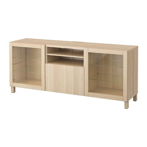 BESTÅ - 電視几連抽屜, Lappviken/Sindvik 染白橡木紋/透明玻璃 | IKEA 香港及澳門 - PE535967_S4