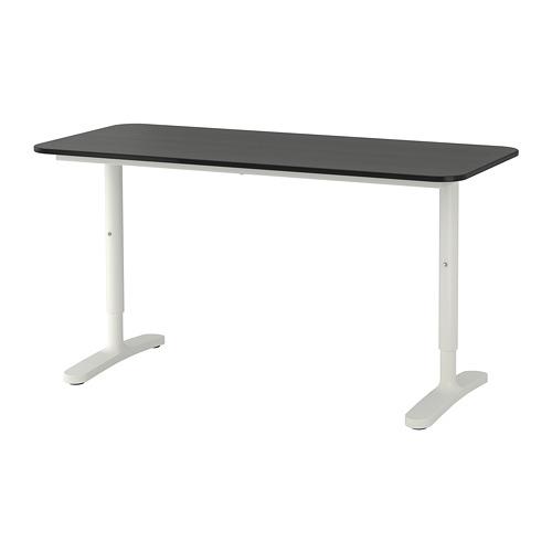 BEKANT - 書檯, 140x60cm, 染黑梣木飾面/白色   IKEA 香港及澳門 - PE703847_S4