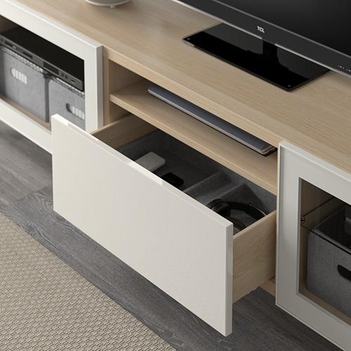 BESTÅ - TV bench, white stained oak effect/Selsviken/Nannarp high-gloss/white clear glass | IKEA 香港及澳門 - PE591566_S4