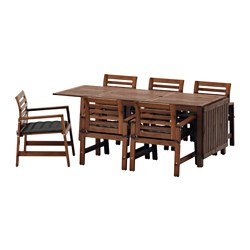 ÄPPLARÖ - table+6 chairs w armrests, outdoor, brown stained/Hållö black | IKEA Hong Kong and Macau - PE596230_S3