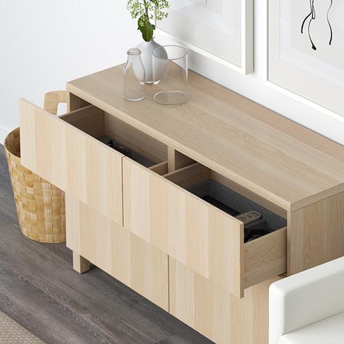 BESTÅ - 貯物組合連門/抽屜, white stained oak effect/Lappviken/Stubbarp white stained oak effect   IKEA 香港及澳門 - PE591421_S4