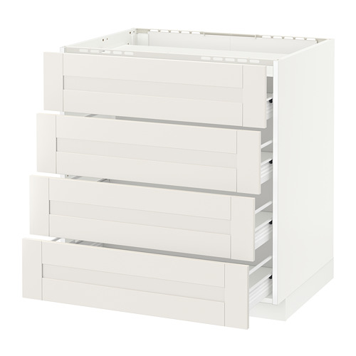 METOD base cab f hob/4 fronts/4 drawers