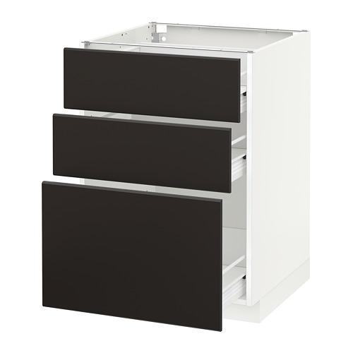 METOD - base cabinet with 3 drawers, white Förvara/Kungsbacka anthracite | IKEA Hong Kong and Macau - PE655919_S4