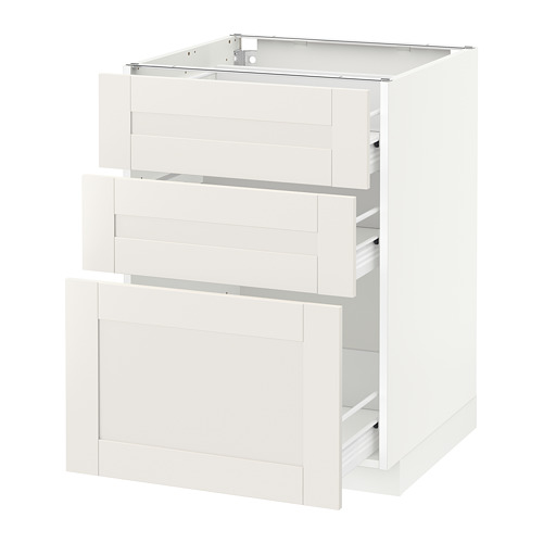 METOD - base cabinet with 3 drawers, white Förvara/Sävedal white | IKEA Hong Kong and Macau - PE655975_S4