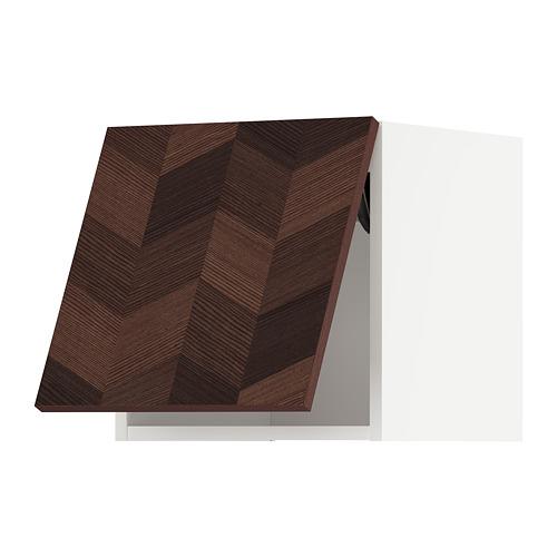 METOD - 吊櫃連推按式開關, white Hasslarp/brown patterned | IKEA 香港及澳門 - PE797939_S4