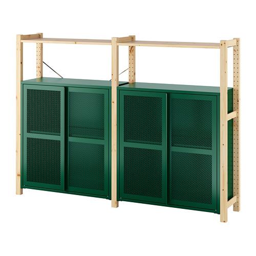 IVAR - 2 sections/shelves/cabinets, pine/green mesh | IKEA Hong Kong and Macau - PE798137_S4