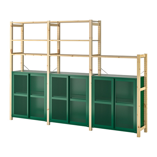 IVAR - 3 sections/shelves/cabinet, pine/green mesh | IKEA Hong Kong and Macau - PE798141_S4