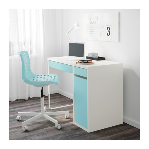 MICKE - desk, width 105 x depth 50cm, white/light turquoise | IKEA Hong Kong and Macau - PE596881_S4