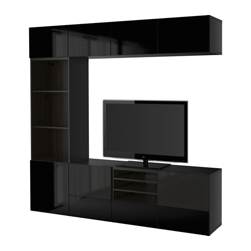 BESTÅ - TV storage combination/glass doors, black-brown/Selsviken high-gloss/black smoked glass | IKEA Hong Kong and Macau - PE535361_S4