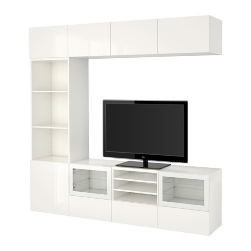 BESTÅ - TV storage combination/glass doors, white/Selsviken high-gloss/white clear glass | IKEA Hong Kong and Macau - PE535367_S4