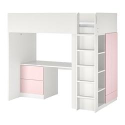 SMÅSTAD - 高架床架連書檯及抽屜櫃門組合, 白色/淡粉紅色 | IKEA 香港及澳門 - PE798327_S3