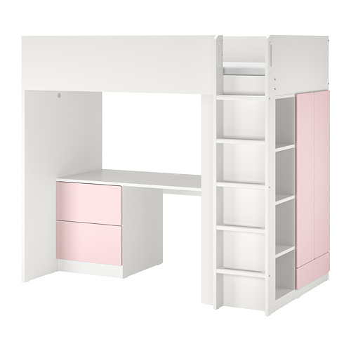 SMÅSTAD - loft bed, white pale pink/with desk with 3 drawers | IKEA Hong Kong and Macau - PE798327_S4