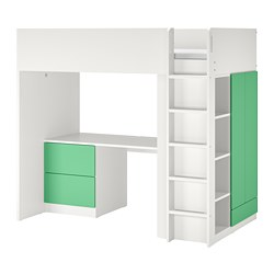 SMÅSTAD - loft bed, white green/with desk with 3 drawers | IKEA Hong Kong and Macau - PE798328_S3