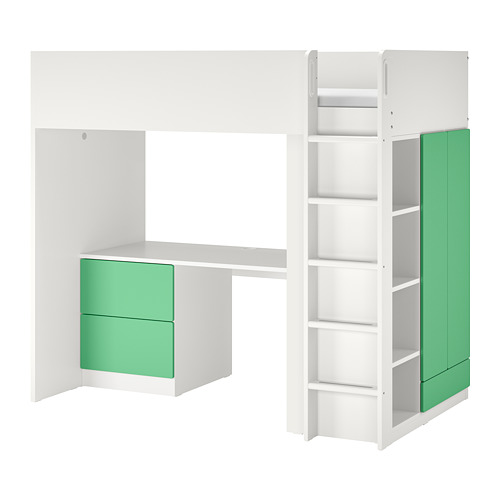 SMÅSTAD - loft bed, white green/with desk with 3 drawers | IKEA Hong Kong and Macau - PE798328_S4