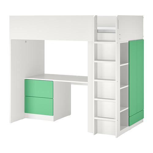 SMÅSTAD - 高架床架連書檯及抽屜櫃門組合, 白色/綠色 | IKEA 香港及澳門 - PE798328_S4