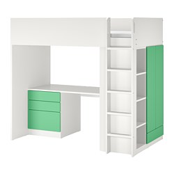 SMÅSTAD - 高架床架連書檯及抽屜櫃門組合, 白色/綠色 | IKEA 香港及澳門 - PE798332_S3