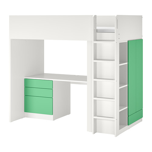 SMÅSTAD - loft bed, white green/with desk with 4 drawers   IKEA Hong Kong and Macau - PE798332_S4