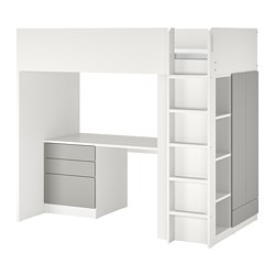 SMÅSTAD - loft bed, white grey/with desk with 4 drawers | IKEA Hong Kong and Macau - PE798330_S3