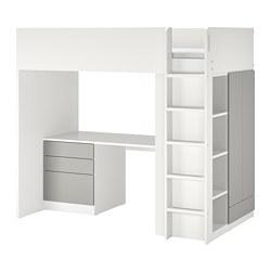 SMÅSTAD - 高架床架連書檯及抽屜櫃門組合, 白色/灰色 | IKEA 香港及澳門 - PE798330_S3