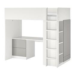 SMÅSTAD - 高架床架連書檯及抽屜櫃門組合, 白色/灰色 | IKEA 香港及澳門 - PE798331_S3