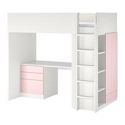 SMÅSTAD - 高架床架連書檯及抽屜櫃門組合, 白色/淡粉紅色 | IKEA 香港及澳門 - PE798329_S3