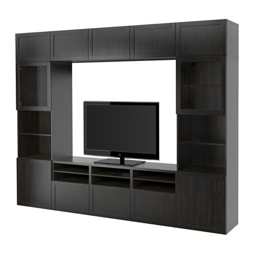 BESTÅ - 電視貯物組合/玻璃門, black-brown/Hanviken black-brown clear glass | IKEA 香港及澳門 - PE535300_S4
