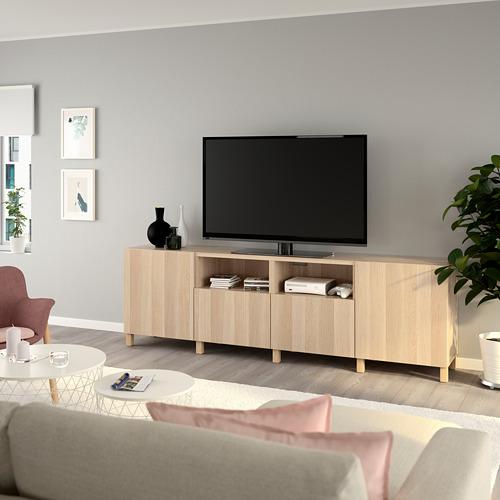 BESTÅ - 電視几連抽屜/門, white stained oak effect/Lappviken/Stubbarp white stained oak effect   IKEA 香港及澳門 - PE744340_S4