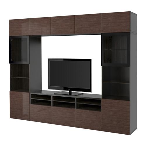 BESTÅ - TV storage combination/glass doors, black-brown/Selsviken high-gloss/brown clear glass | IKEA Hong Kong and Macau - PE535313_S4