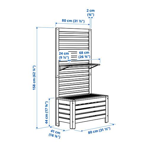 ÄPPLARÖ - 戶外長凳連牆架層板組合, 染褐色 | IKEA 香港及澳門 - PE798409_S4