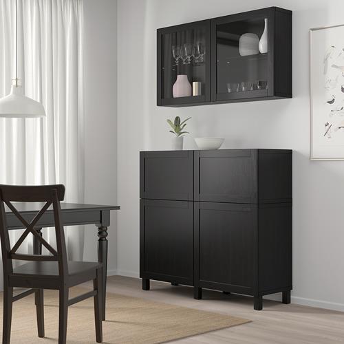 BESTÅ - 貯物組合連門/抽屜, black-brown/Hanviken/Stubbarp black-brown clear glass | IKEA 香港及澳門 - PE744472_S4