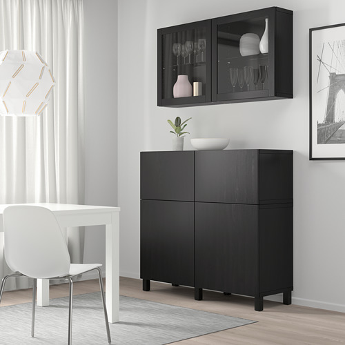 BESTÅ - 貯物組合連門/抽屜, black-brown/Lappviken/Stubbarp black-brown clear glass | IKEA 香港及澳門 - PE744471_S4