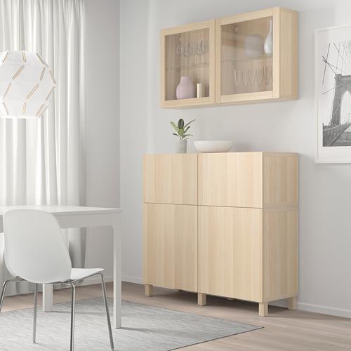 BESTÅ - 貯物組合連門/抽屜, white stained oak effect/Lappviken/Stubbarp white stained oak eff clear glass   IKEA 香港及澳門 - PE744469_S4