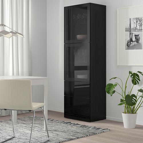 BESTÅ - 玻璃門貯物組合, black-brown/Selsviken high-gloss/black clear glass   IKEA 香港及澳門 - PE744492_S4