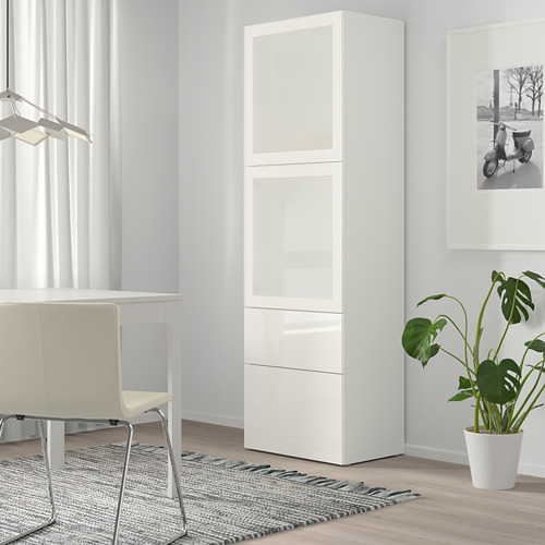 BESTÅ - 玻璃門貯物組合, white/Selsviken high-gloss/white frosted glass | IKEA 香港及澳門 - PE744481_S4