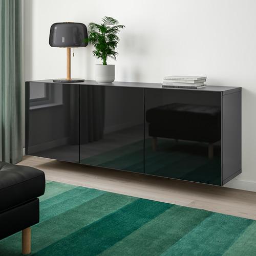 BESTÅ - 上牆式貯物組合, black-brown/Selsviken high-gloss/black   IKEA 香港及澳門 - PE744501_S4