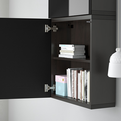 BESTÅ - 雙門吊櫃, black-brown/Selsviken high-gloss/black | IKEA 香港及澳門 - PE561363_S4