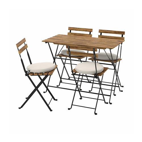 TÄRNÖ - 戶外檯連四椅組合, black/light brown stained/Frösön/Duvholmen beige | IKEA 香港及澳門 - PE798560_S4