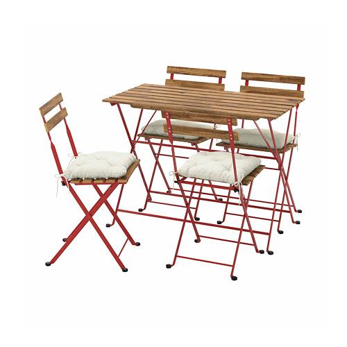 TÄRNÖ - 戶外檯連四椅組合, red/light brown stained/Kuddarna beige | IKEA 香港及澳門 - PE798561_S4