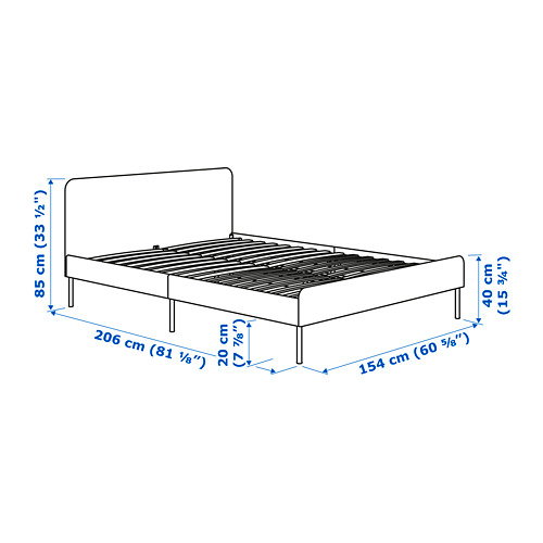 SLATTUM 軟墊式特大雙人床架